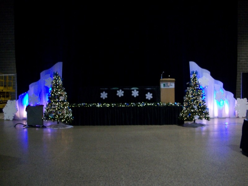 blue and white corporate holiday party