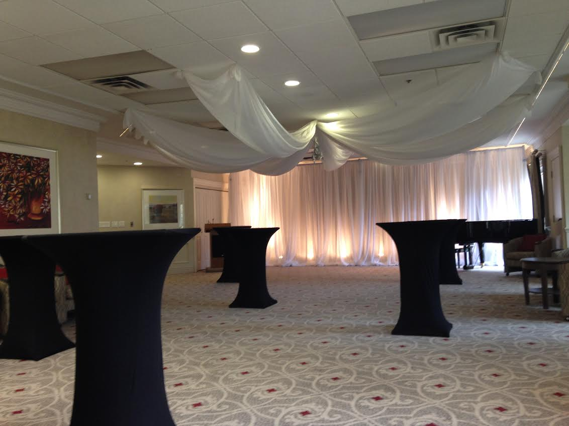Cocktail Tables Ceiling Swag And Draping For Corporate Event Creating A Scene Inc